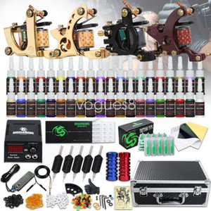 Tattoo Kit 4 Machines Guns 40 color Inks Power Supply Needles Grips Tips Carry Case D139GD-16