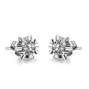 0.6CT jewelry Fine Anti allergic SONA Fine diamond earrings stud for women white gold Cover wedding earrings for girl