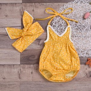 Toddler Baby Clothes Set Sleeveless Suspender Flower Print Romper+Headbands Set Outfit