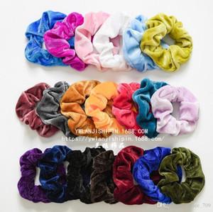 20 renk Kadın Kızlar Canlı Katı Kadife Kumaş Elastik Halka Saç Kravatlar Aksesuarları At Kuyruğu Tutucu Hairbands Lastik Bant Scrunchies