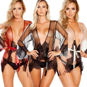 Ropa interior de la muñeca del cordón de las mujeres Señora atractiva de la ropa ropa de dormir ropa de dormir Sleep Tops más el tamaño M-2XL