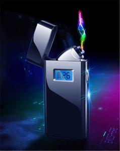 Dupla Arc eletrônico isqueiro USB à prova de vento de metal recarregável Lighter Duplo Arco cigarro isqueiro para fumadores de tabaco para cachimbo