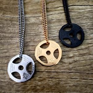 Hommes Hip Hop Bijoux Pendentif Or Argent Barbell collier pendentif en titane acier haltère Pendentif Charm Accessoires Collier