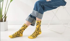 tubo médio meias de algodão Primavera Colégio Verão Estilo Sock Womens leopardo Meias Pilha Sock fêmeas