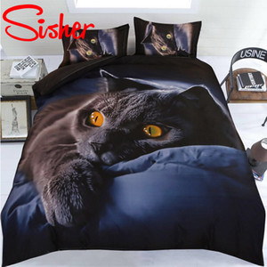 Sisher Adult Duvet Cover Set 3D Printed Animal Cat Comforter 4pcs Bedding Sets King Size Single Full Double bed linen flat sheet Y200417