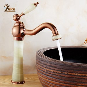 ZGRK Marble faucet hot and cold basin jade taps full copper Golden lavatory faucet marble stone gold basin