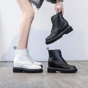 botines invierno de la plataforma blanca de moda para mujer botines de cuña de tacón mujer 2020 en el interior de los talones botines mujer Schoenen TSDFC