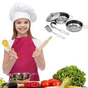 8 unids / set niños Mini utensilios de cocina olla de acero inoxidable olla niños simulan cocinar jugar juguete simulación utensilios de cocina juguetes conjunto SH190907