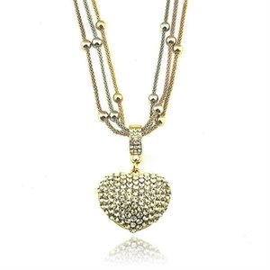 Heart Pendant Necklace Alloy Love Shaped Valentine Fashion Necklace Women Cute Fashion Small Crystal Wedding Jewelry LJJO7591