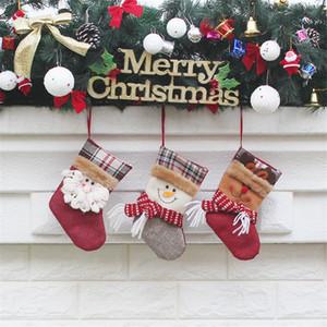 7.5 '' Klein Weihnachts Stckings Sankt-Schneemann-Ren-Süßigkeit Socken Weihnachtsbaum-Dekoration für Familien Urlaub Kind Geschenk JK1910