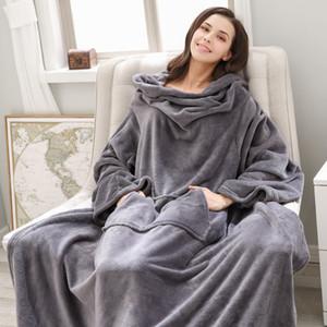 Couverture d'hiver chaud Wearable Couverture en laine avec manches Blanket Cartoon élégant confortable chaud extra doux en peluche