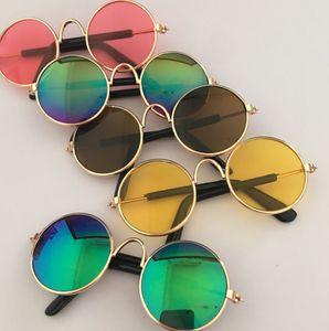 Cool Dog Cat Pet Glasses Retro Metal Frame Eye-wear Anti-UV Round Lense Sunglasses Photos Photography Props Accessories M size