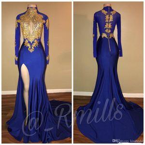 Золото Кружева Пром платья Русалка с длинными рукавами Royal Blue High Бедро Сплит черные девушки Вечерние платья Высокий воротник 2K17 Девушки Pageant Dresse