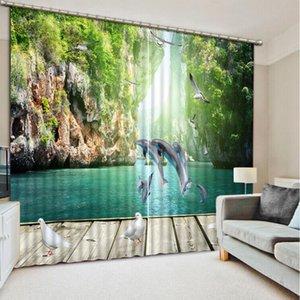 Mountain green water show fish saltando dragon gate 3D Blackout cortina de ventana para sala de estar oficina cortinas dormitorio cortinas