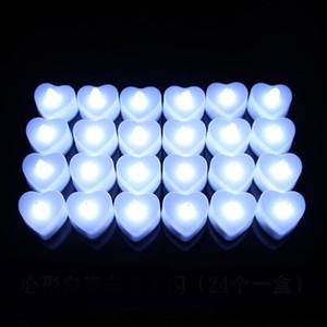 Creat Heart Shaped свет батарейках Flicker беспламенной светодиодные Tealight чай свечи Свет Свадьба День рождения Новогоднее украшение DHL