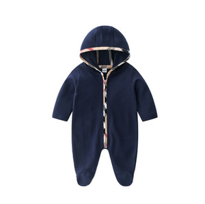 Retail 2020 New Arrivals Primavera Outono Baby rompers infantil bonito do bebê manga comprida Macacão de algodão da criança Onesies Com Chapéu recém-nascido de uma peça só