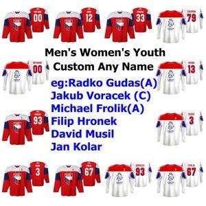 جمهورية التشيك 2019 بطولة العالم للهوكي الفانيلة IIHF ميتشال ريبيك جيرسي دميتري Jaskin فيليب Chytil Francouz Zohorna مخصص مخيط