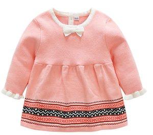 Venta al por menor nueva ropa para niños Bebé niña bebé algodón punto vestido de lana Xiao qi vestido rosa de manga larga