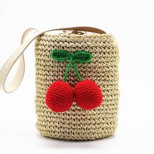 Cherry Pompon Summer Style Cilindros Bolsos Bohemio Boho Indian Hair Straw Bag Thai Woven Beach Bag J190702