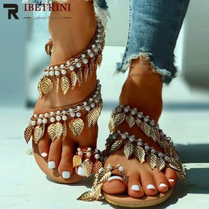 RIBETRINI Plus Sizes 34-43 Summer Ring Straped Roman Sandals 2020 Fashion Beaded Shoes Woman Casual beach Flip Flop Flat Sandals Y200702