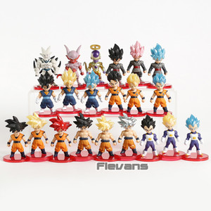 Dragon Ball Z Super Saiyan Son Goku Gohan Vegeta Vegetto Syn Shenron Freeza Janemba Mini PVC Figures Toys 21pcs set Y200703