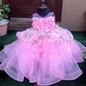 Pink Ball Gown Flower Girl Dresses For Wedding Tiered Toddler Pageant Gowns Sheer Bateau Neck Tulle 3D Appliqued Kids Prom Dress