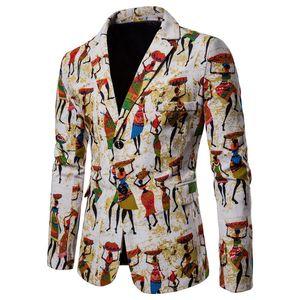 2019 Vintage Blazer Ceket Erkekler Sonbahar Yeni Baskı Slim Fit Erkekler Blazer Afrika Ulusal Pamuk ve Keten Erkek Takım Elbise Ceket Ceket M-4XL J190823