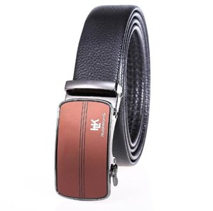 Source manufacturers produce wholesale fat guys plus trousers 150CM head layer leather trousers belt business automatic buckle belt