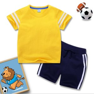 2020 children's clothing summer new boys' suit girls' sports two piece set fashion popular blank T-shirt shorts wholesale