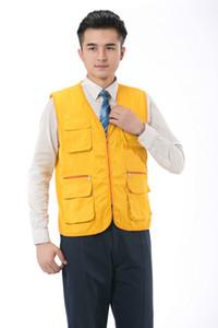 Più Pocket Supermercato personale volontario Fotografia Lettering Ingegneria Work Clothes Gilet Vest delle donne Maschio