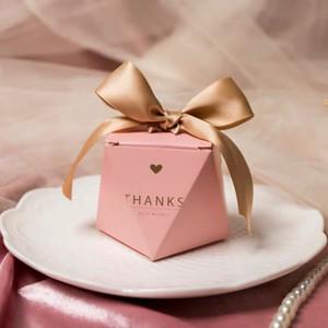 50pcs merci boîte de bonbons roses pour cadeau décoration faveur / cadeau de fête / faveurs de mariage boîtes cadeau au chocolat invités