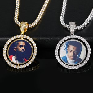 Customized Photos Necklaces Jewelry Fashion 18K Gold Plated Rotating Memory Pendant Necklace Bling Zircon Paved Hip Hop Necklaces