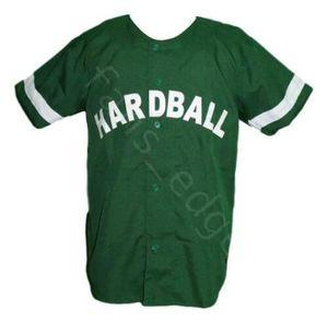 Barato Lil Wayne 7 Hardball película Béisbol Jersey Button Down verde para hombre cosido Jerseys camisas tamaño S-XXXL envío gratis