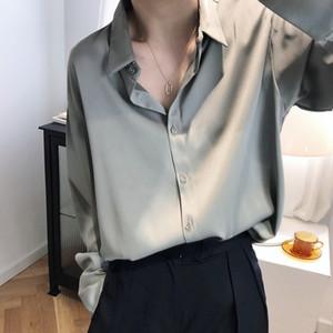 satin chiffon shirt Women's 2020 Luxury Designer dress design sense niche light and mature solid color drape top 630 blouse woman