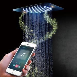 Lusso colorato doccia soffione doccia LED altoparlante del quadrato del soffitto SUS304 Chrome Showerhead Bagno di musica di Bluetooth doccia a pioggia