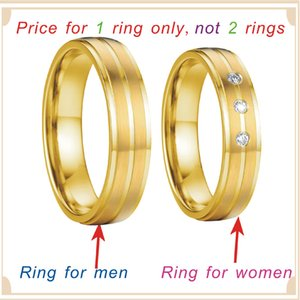 Love Alliances marriage Proposal couple wedding rings set for men and women gift Gold Color his and hers stainless steel jewelry
