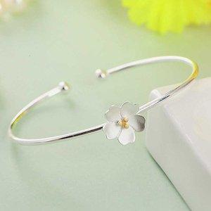LISM 100% стерлингового серебра 925 новый корейский свадебный цветок вишневый цвет открытый браслет Браслет для женщин девушка творческий ювелирные изделия