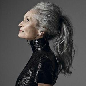 Mujeres 100% reales Gris plateado humano Recto Envoltura alrededor de la extensión de cola de caballo Pieza de cabello humano Clip en extensiones de cabello (Gris plata)