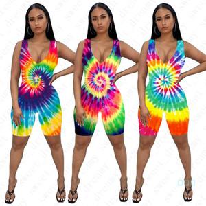 Flaca de los pantalones cortos del mono de las mujeres de moda teñido verano de las señoras mamelucos atractivos Trajes femeninos 3D Imprimir sin mangas Uno-pedazos cortos D42205