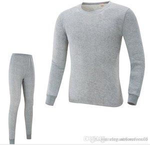 Autunno Primavera O-collo magliette pantaloni 2pcs Sleepwear Suits intima Magro inverno caldo Imposta Biancheria Intima Mens pigiama