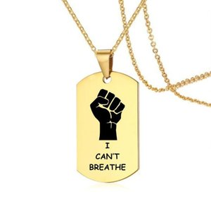 2020 New American Black I Can't Breathe Stainless Steel Necklace Jewelry For Black Lives Matter