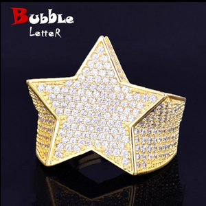 Men's Star Ring 18 K Copper Charm Gold Color Full Zircon RING Fashion Hip Hop Rock Jewelry CX200608
