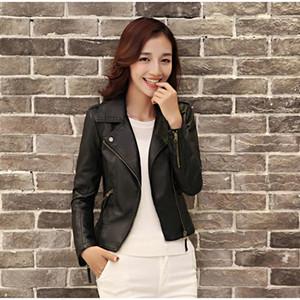 Women Pu Leather Jackets Casual Slim Soft Moto Coat Zippers Biker Faux Leather Jackets Outwear