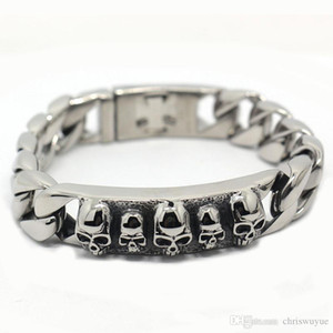Stainless steel bracelet Solid 15MM Wide Heavy Men's Skeleton Skull Bracelet Punk Rocker Ghost Bangle Biker Jewelry Bracelets