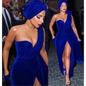 2020 Plus Size Royal Blue Velvet Arabic African Prom Dresses Long Sleeves Mermaid Split Muslim Evening Gowns