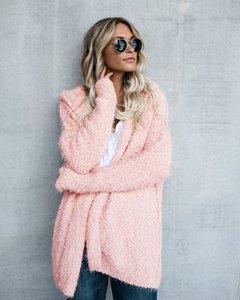 Kadın Kış Kapşonlu Hırka Palto Gevşek Sıcak Foft Coats Bayan Giyim Katı Renk Moda Kadın Kabanlar Wear Tops