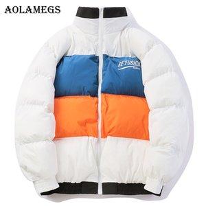 Aolamegs Parka Men Block Striped Thick Mens Winter Jackets Mens Down Jacket Stand Collar Windproof Coat Winter Streetwear
