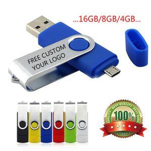 Multi-couleurs Rotation OTG téléphone USB flash carte de lecteur de flash USB Couleur Rotary Pen Drive 8GB Memory Stick USB Pendrive 4 Go Création personnalisée