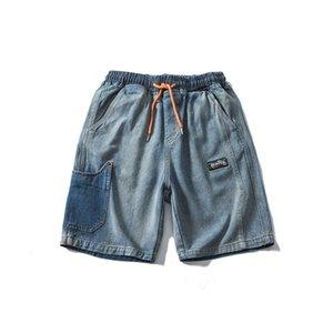 Männer Jeans ist keineswegs Häufige amerikanische Amerikaner do alte gewaschene Denim-Shorts männliche Logo-Straße lose gerade fünf Minuten Hose