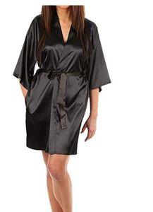 Robe Women Silk Satin Solid Kimono Robe Fashion Bath night Sexy Bathrobe Large Size Bridesmaid Dressing Gown For Wome